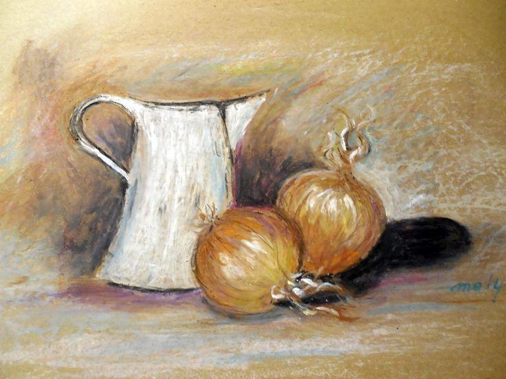 Krug und Zwiebeln, Ölpastell