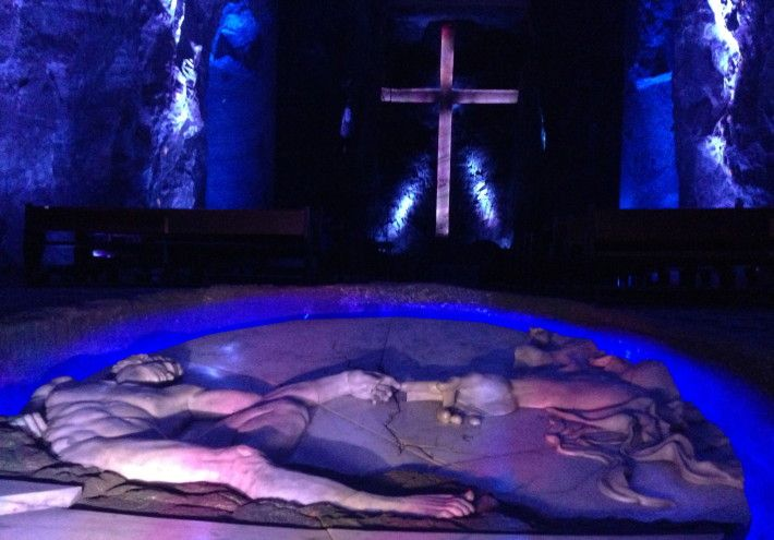 At the bottom of the Zipaquira salt cathedral, visitors will find a salty Creation of Adam monument, as well as the world's largest underground cross.