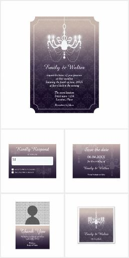 Vintage Chandelier On Purple Elegant Wedding Set #wedding #chandelier #elegant #purple