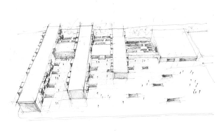 School complex - sketch, Ivana Linderova, 2014