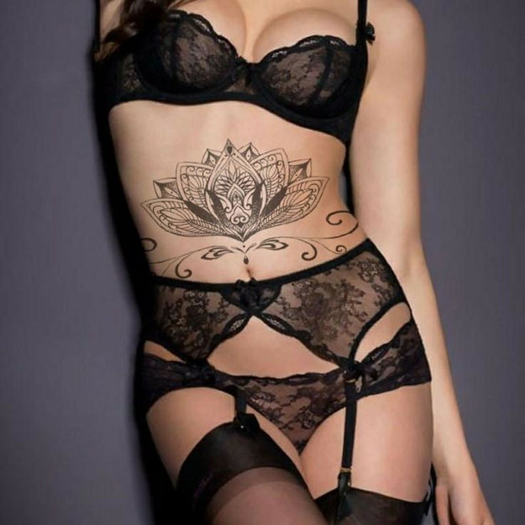 Temporary Tattoo Fashion Sexy Chest Waterproof Black Lotus Totem Female Body Tattoo, Water Transfer Body Decorative Sticker