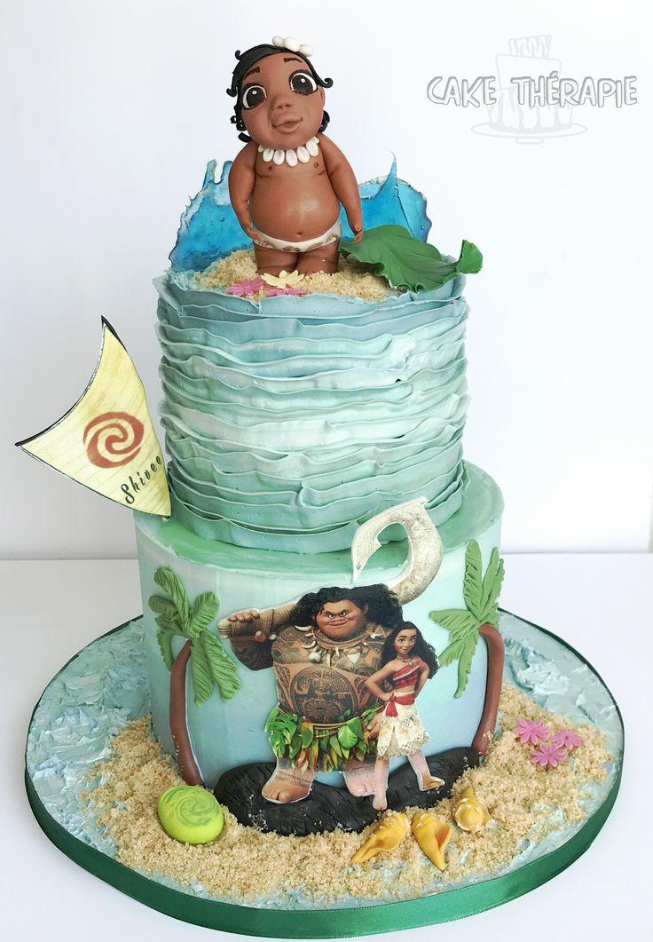 Moana cake. Buttercream ruffles, edible images and fondant accents.
