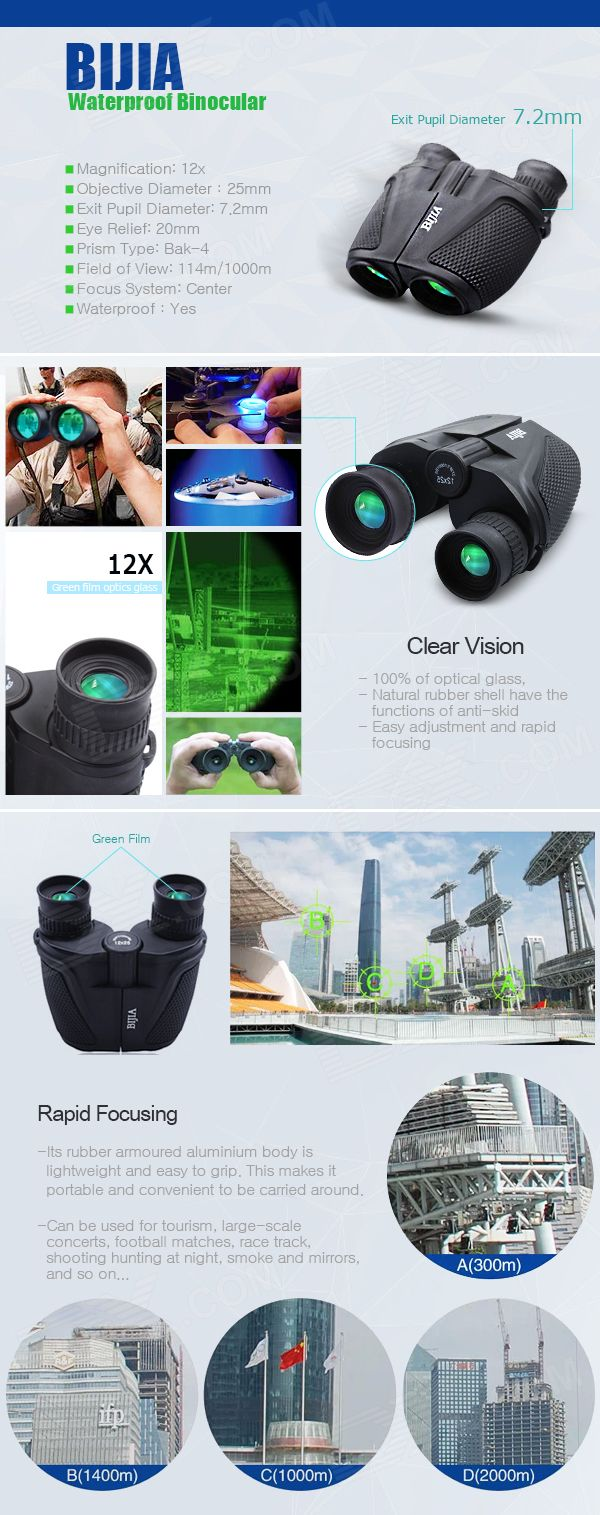 BIJIA 12x25 Waterproof Ultra-clear High-powered Binoculars - Black - Free Shipping - DealExtreme
