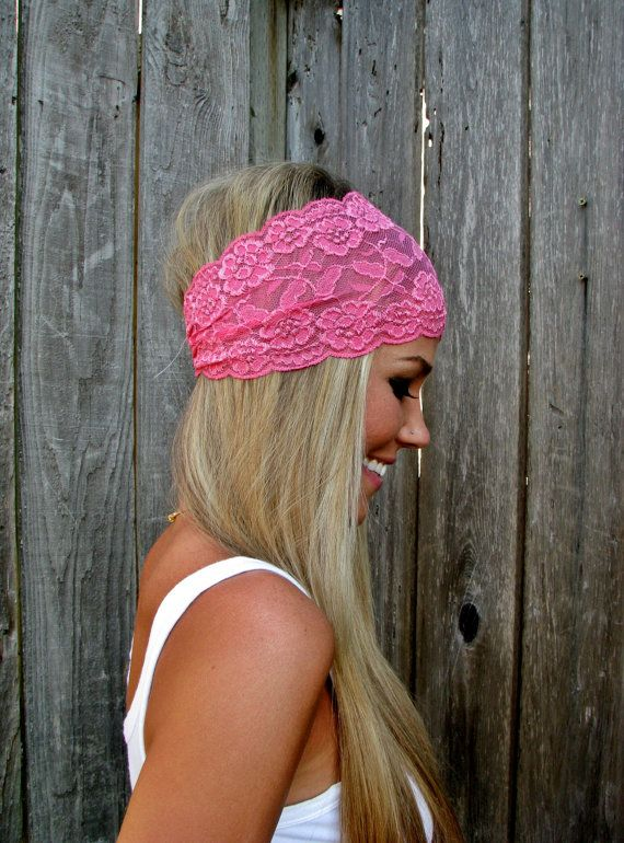 Wide stretch lace headband and other easy DIY headband ideas.