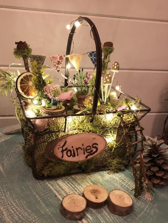Bedside Fairy Garden~Sweet Dreams ~ All item Included~ Great Gift to Direct Ship – fairy wings to make