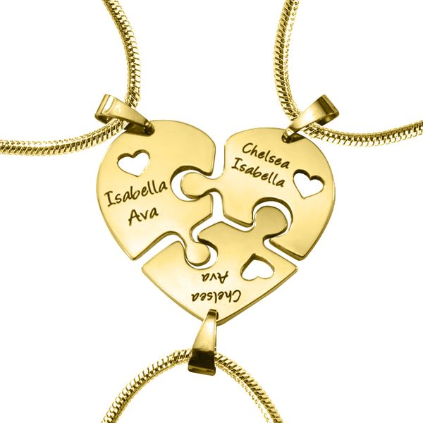 Belle Fever - Triple Heart Puzzle (Three Personalised Necklaces OPTIONAL Gold Upgrade)