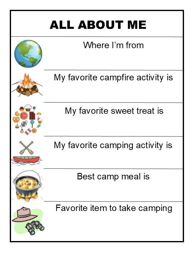 All About Me Camping Edition Icebreaker Activities Team Building Activities Staff Training Teamwork worksheets for students