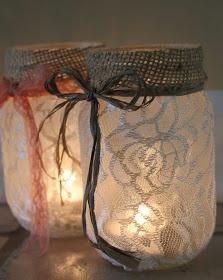 DIY Mason Jar Luminaries lace,  burlap,  spray adhesive, glue ribbon