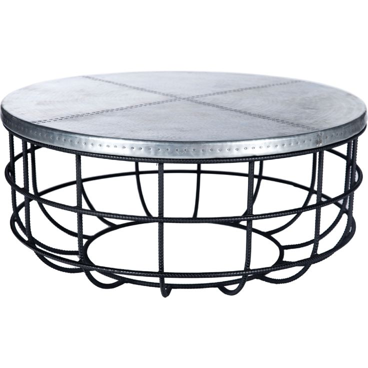 Axel Coffee Table in Hand Forged Iron w/ Round Hammered Zinc Top #dynamichome #coffeetable #table #zinc #metal #style #design #homedecor #interiors #interiordesign #loftstyle #livingroom #livingroomideas