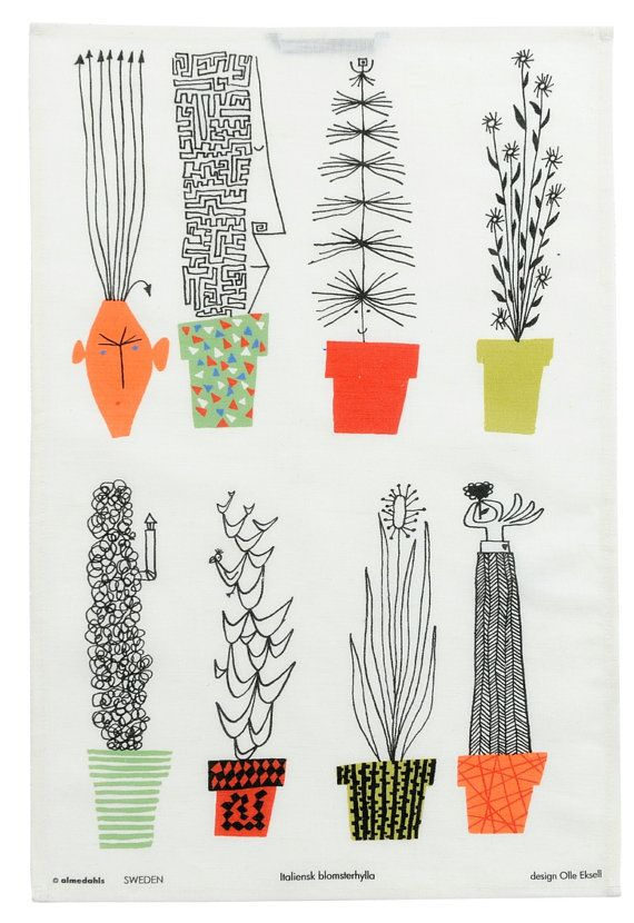 This is a beautiful cotton/ linen tea towel with the Italian Blooms design by Olle Eksell, Swedish Modernist designer and author of the book