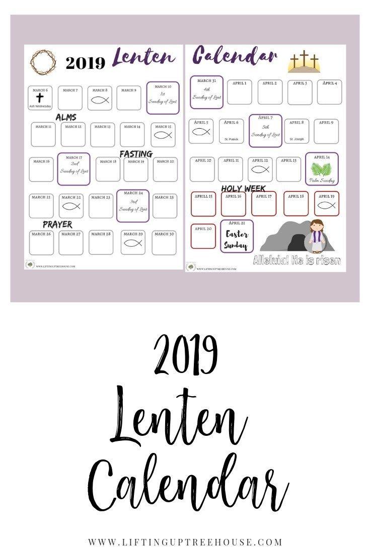2019 Lenten Calendar Lenten Sunday School Kids Catholic Holidays