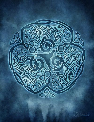 Winter Wolf Celtic Wolf Triskele Knotwork -  Pagan Wiccan Print - Brigid Ashwood