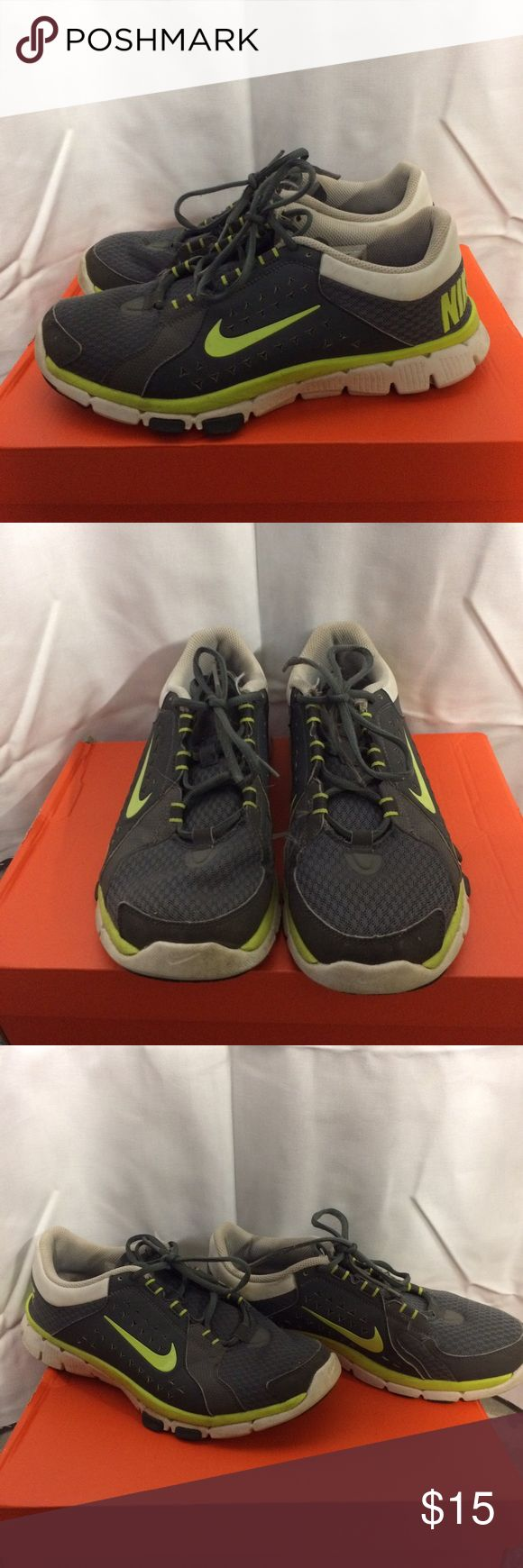 Size 9 Men's Nike Flex Sneakers Size 9 Men's gray, white and neon green Nike flex sneakers. Worn a good amount, in okay condition. A little fraying here and there near the laces, but still fully comfortable and functional. Feel free to make an offer. Nike Shoes Sneakers