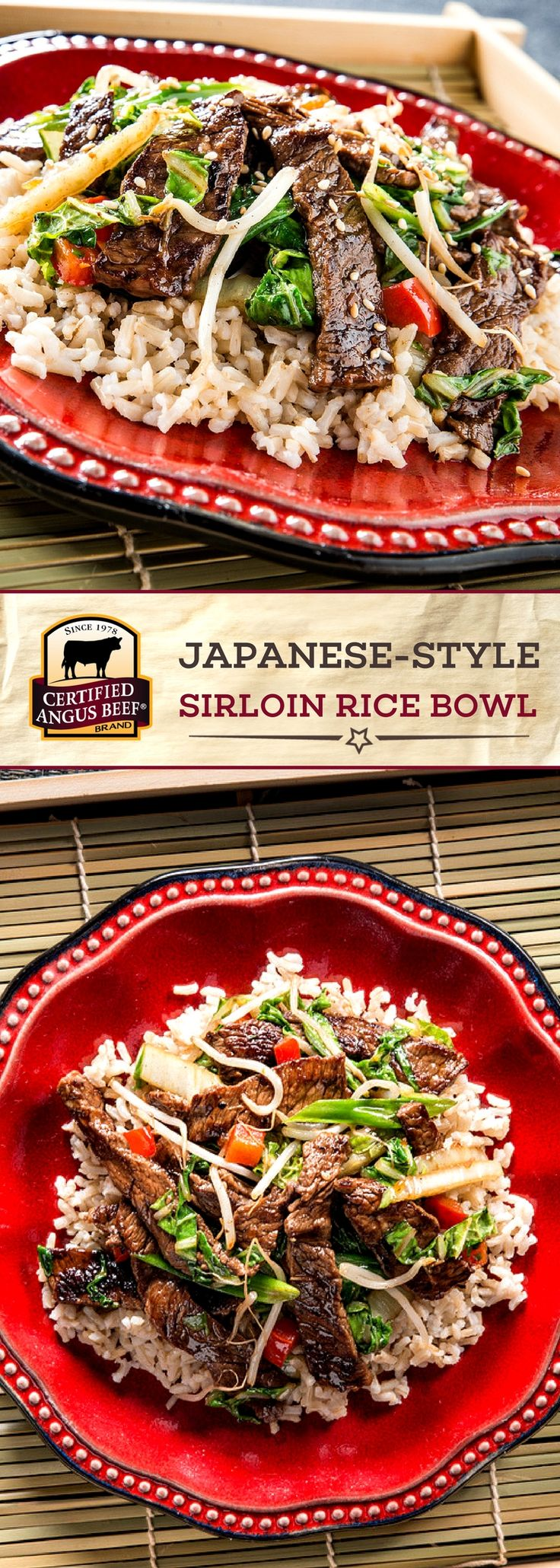 Certified Angus Beef®️️️️️ brand Japanese-style sirloin rice bowl is an EASY recipe packed with DELICIOUS flavors! The best sirloin steak is cooked with cabbage, peppers and sprouts, and then is finished with a soy sauce, sugar, sake and sesame oil sauce for a deeply FLAVORFUL dish! Serve over your favorite rice for a SIMPLE, tasty meal. #bestangusbeef #certifiedangusbeef #beefrecipe #easyrecipes #ricebowl