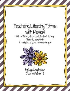 Great movies, both animated and not, include all of the same elements as great works of literature. Use this to your advantage! These 10 questions have been designed to be used with any movie to challenge your students to carefully think about key terms from the Reading Literary portion of the CCS and Georgia Standards of Excellence such as literary elements including plot structure, theme, figurative language, point of view, and more!