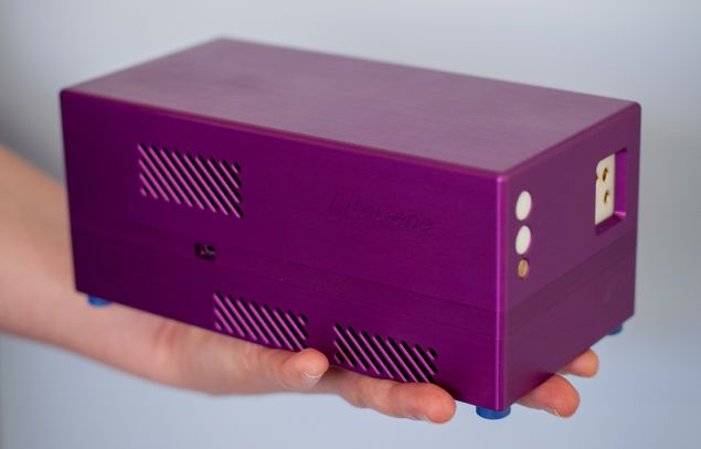 The device, called Freedom4, brings the quantitative PCR method of DNA sequencing to the field. The brick-sized machine has a six-hour battery life and can process DNA samples in one step, identifying the presence and extent of, say, a norovirus infection in under an hour. Connects wirelessly to a smartphone or laptop.