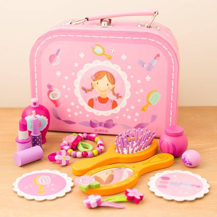 Personalised Wooden Vanity Set  Cute false makeup set for little girl, play make believe personalised with her name.