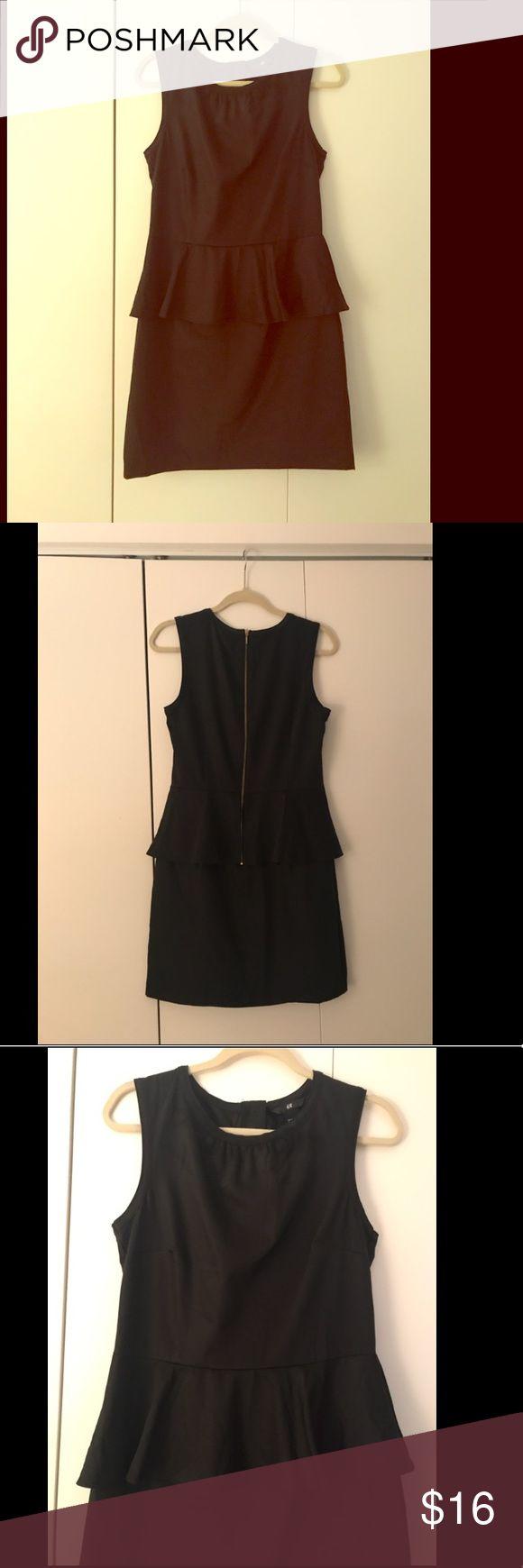 Black Peplum Dress Black peplum dress. New with tags. Never worn, zipper back. Gorgeous fit. H&M Dresses Midi