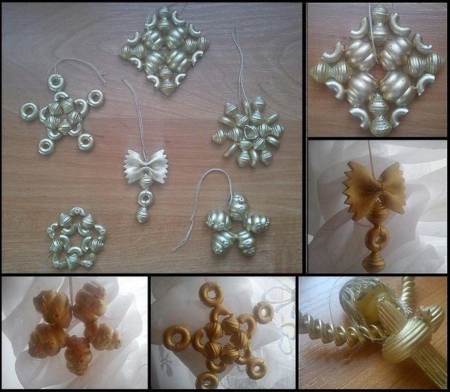 silver sprayed Christmas pasta ornaments