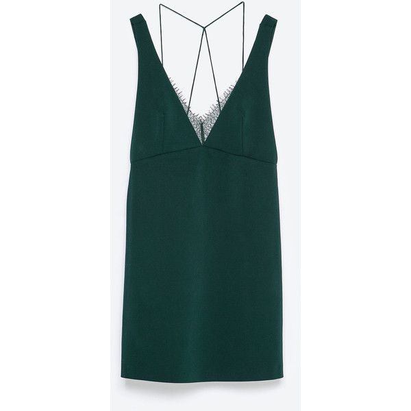 Zara Lace Dress (£26) ❤ liked on Polyvore featuring dresses, zara, dark bottle green, green lace dress, lace cocktail dress, lace dress, lacy dress and green cocktail dress