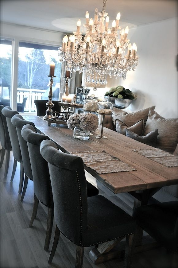 Rustis long table and elegant chairs. My mom's chandelier!!