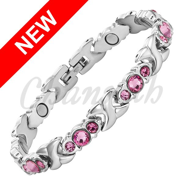 Find More Chain & Link Bracelets Information about 2016 Women 24pcs Pink Crystals Bracelet Silver Magnetic Stainless Steel Bangle Ladies Jewelry Gift Free Shipping Hong Kong Post,High Quality jewelry retro,China jewelry jelly Suppliers, Cheap post from Channah Store on Aliexpress.com