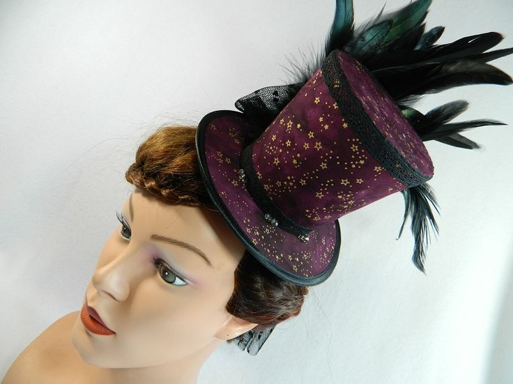 Tophat dark red stars veil Minihat Fascinator Gothic Hat Funeral Burlesque morbid Bibi Chapeau black Victorian Steampunk Drag Queen by Nashimiron on Etsy