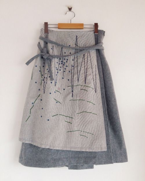 "zazizazizazi:  zazi 16aw ""山のかけら、星の粒""sashiko wool wrap skirt /gray                                                                                                                                                      More"