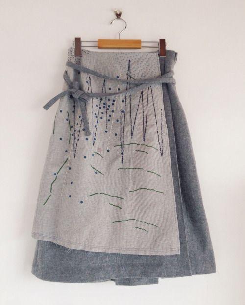 "zazizazizazi:  zazi 16aw ""山のかけら、星の粒""sashiko wool wrap skirt /gray                                                                                                                                                      More"