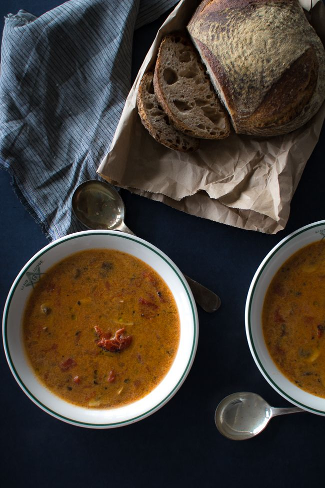 Fire-Roasted Tomato & Mushroom Soup with Rosemary