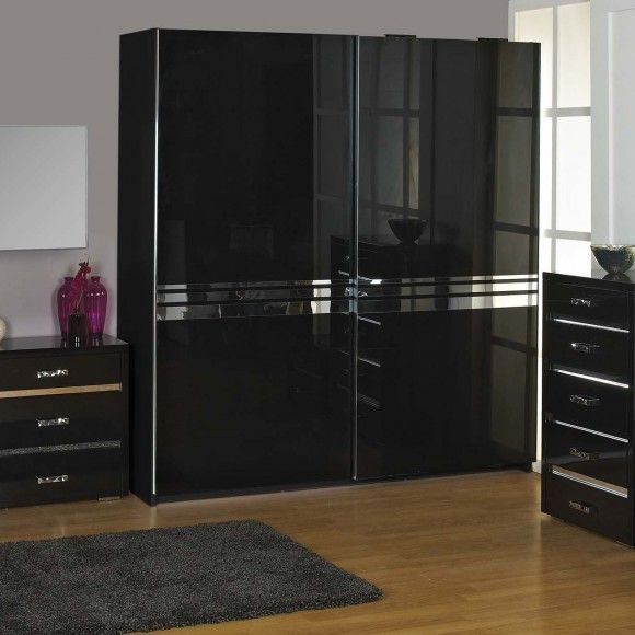 alessia wardrobe in high gloss black a stunning contemporary high gloss mdf set with shiny. Black Bedroom Furniture Sets. Home Design Ideas
