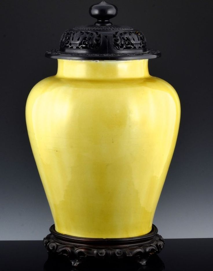 VERY RARE MASSIVE c1650 CHINESE KANGXI IMPERIAL YELLOW GLAZED JAR VASE LID STAND