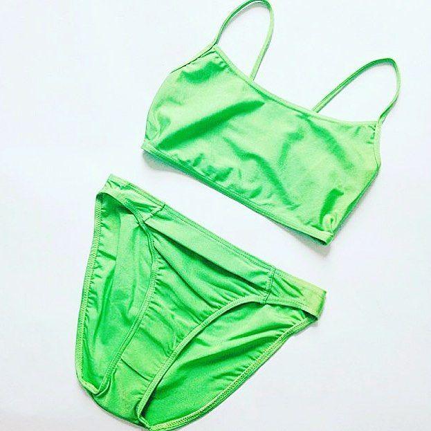 Spearmint Green Crop Top Bikini Two Piece 🍏 #bikini #highwaist #vintage #swimwear