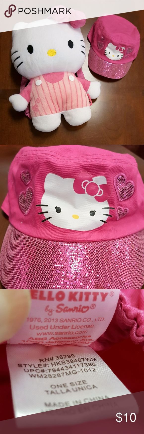 Hello Kitty Plush backpack and glittery hat Super cute Hello Kitty backpack and Hello Kitty hat with a glitter rim.  Great condition! Hello Kitty Accessories