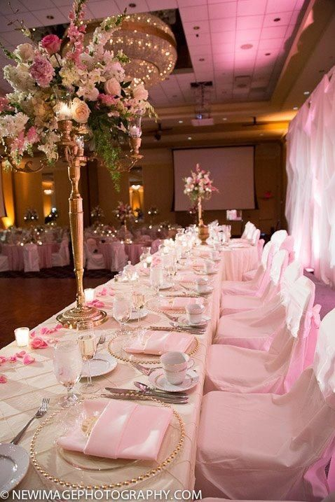 Head table, ivory wedding table cloth, pink and gold flowers, Victorian wedding theme, gorgeous, girly, classy, love it!