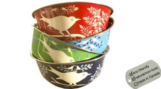 Stainless Steel Bowl - hand painted eva bird