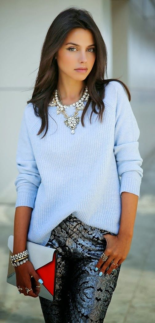 Baby blue sweater, sequin skirt, crystal necklace, crystal bracelets, gold bracelet, silver rings, baby blue nail polish