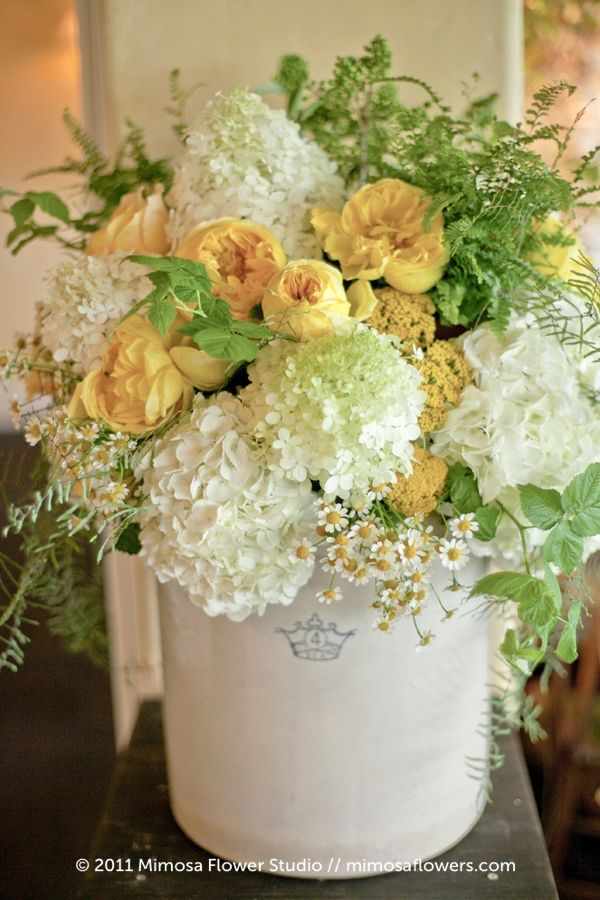 very vintage gorgeous!  love the mint and camomile #mimosaflowers #weddingcenterpieces
