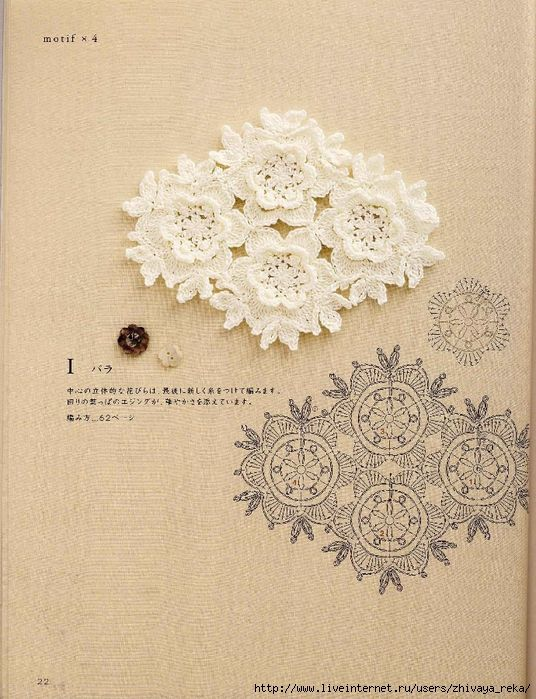 Many motifs, charts  projects in this Japanese #crochet book. Click on picture for all pages  charts at this Russian website.
