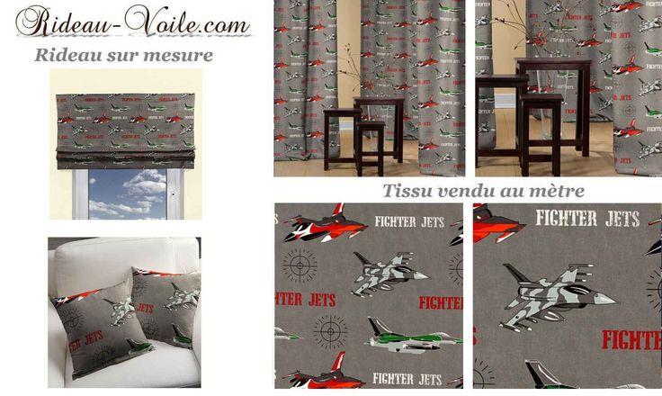 Tissu rideau chambre garçon avion décor www.rideau-voile.com