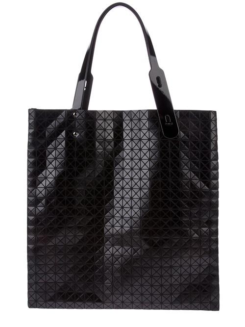 Black Laser Cut Geometric Leather Bag, by Issey Miyake. Men's Fall winter Fashion.