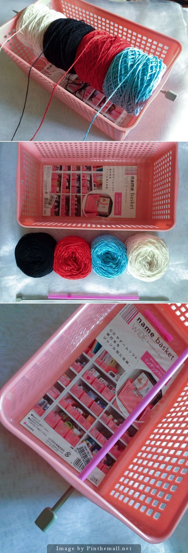 """Organize the yarn you're using in a project with this simple DIY. You need: 1 plastic basket with holes, 1 knitting needle, 1 drinking straw, and your yarn wound as in the picture. Voila! Easy as pie and there's room for your hooks, needles, scissors and pattern underneath, too!"" 4U from the #KnittingGuru"