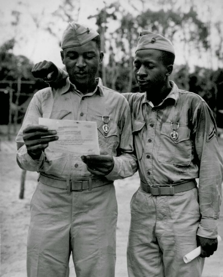 Battle of Saipan: Beginning of the End Montford Point Marines- Staff SGT Timerlate Kirvenand and Cpl. Samuel J. Love, Sr. They received Purple Hearts for wounds received in the Battle of Saipan  Source: National Archives