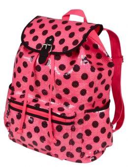 Large Pink and black polka dot ruck sack
