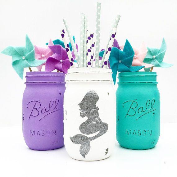 Mermaid Mason Jar Trio, Mermaid, Nursery, Mermaid Birthday, Mermaid…