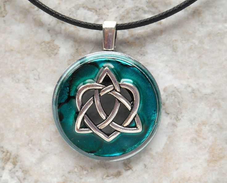 celtic sister knot necklace: teal - heart jewelry - triquetra necklace - celtic jewelry - unique gift - celtic knot - valentines day by NatureWithYou on Etsy