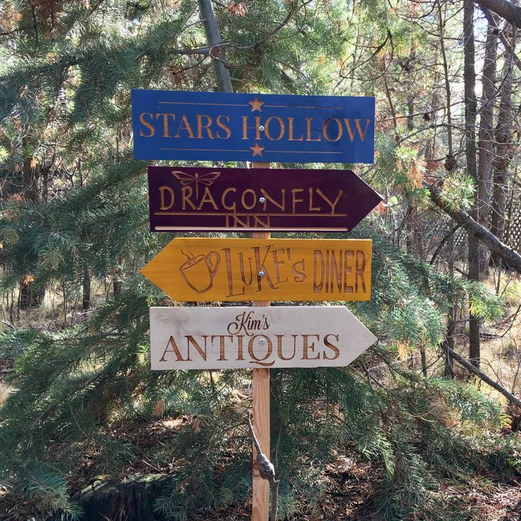 Stars Hollow Directional Signs - Gilmore Girls Lukes Diner Dragonfly Inn Kim's Antiques Rory Lorelai - Yard Garden Signs Cedar Wood Decor