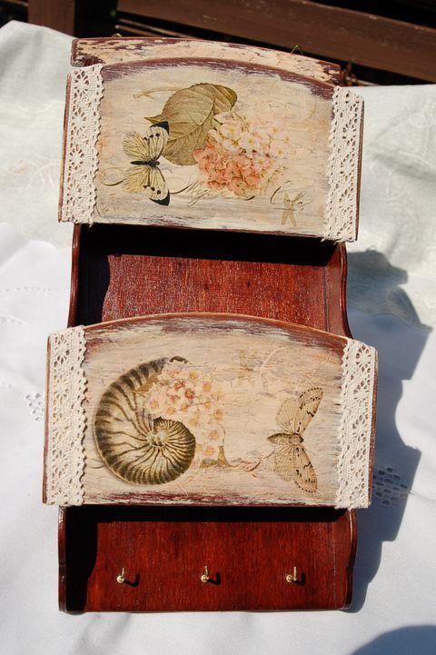 Fali kulcstartó pillangós levéltartóval , Otthon, lakberendezés, Tárolóeszköz, Meska