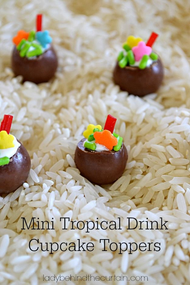 Mini Tropical Drink Cupcake Toppers - Lady Behind the Curtain