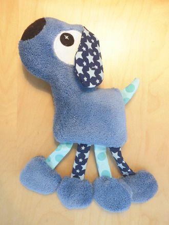 Doudou chien bleu - étoiles et pois  : Jeux, peluches, doudous par melomelie